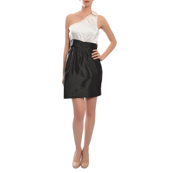 Alexia Admor Women's Black & White Asymmetric One-shoulder Silk Rosette Cocktail Evening Dress