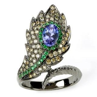 Soho Boutique by Neda Behnam 18k Black Rhodium-plated Gold Multi-color Gemstone/ Diamond Feather Ring