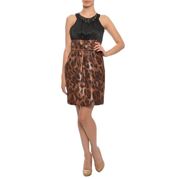 Alexia Admor Women's Leopard Print/ Black Satin Evening Dress
