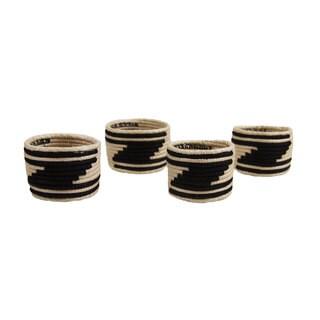 Set of 4 Black/ White Sisal Napkin Rings (Rwanda)