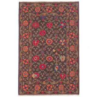Hand-woven Indo Suzani Orange/ Brown Wool Rug (3' x 5')