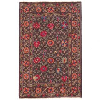 Hand-woven Indo Suzani Orange/ Brown Wool Rug (4' x 6')