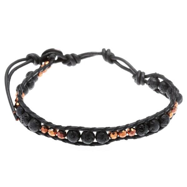 La Preciosa Crystal and Lava Rock Beaded Wrap Bracelet