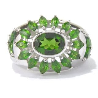 Sterling Silver 3 5/8ct TGW Chrome Diopside Open Flower Ring