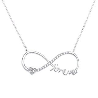 """La Preciosa Sterling Silver White Topaz Figure 8 Infinity """"Forever"""" Necklace"""