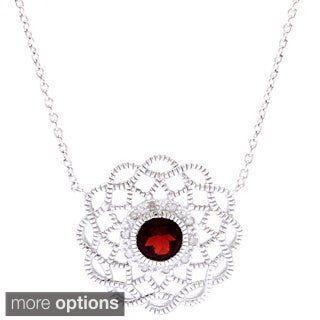 La Preciosa Sterling Silver 1/10ct TDW Diamond and Garnet or Citrine Necklace (I-J, I2-I3)