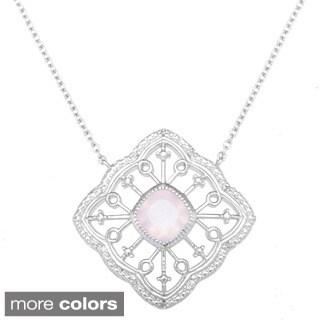 La Preciosa Sterling Silver Gemstone and Diamond Accent Filigree Necklace
