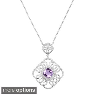 La Preciosa Sterling Silver 1/10ct TDW Diamond and Gemstone Milgrain Necklace