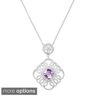 La Preciosa Sterling Silver 1/10ct TDW Diamond and Gemstone Milgrain Necklace