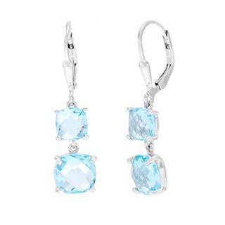 La Preciosa Sterling Silver Blue Topaz Graduated Gemstone Dangle Earrings