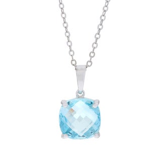 La Preciosa Sterling Silver Blue Topaz Gemstone Pendant Necklace
