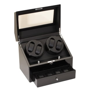 Diplomat Gothica Black Quad Watch Winder with Storage Space