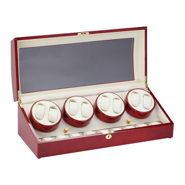 Diplomat Cherrywood Eight Watch Winder with Storage