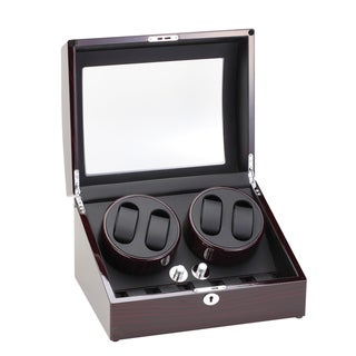 Diplomat Ebony Quad Watch Winder with Storage