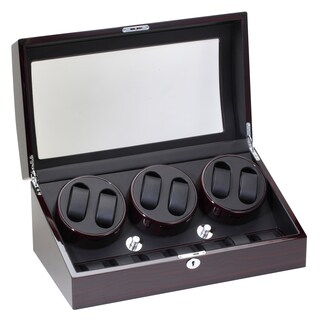 Diplomat Ebony Six Watch Winder with Storage