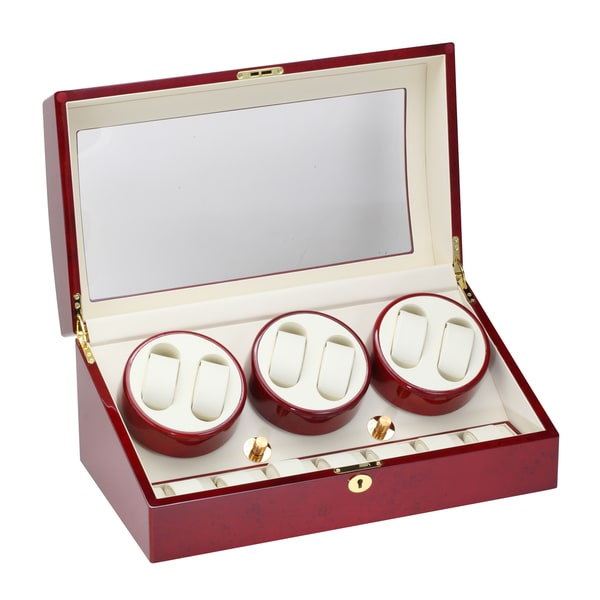 Diplomat Cherry Wood Six Watch Winder with Storage