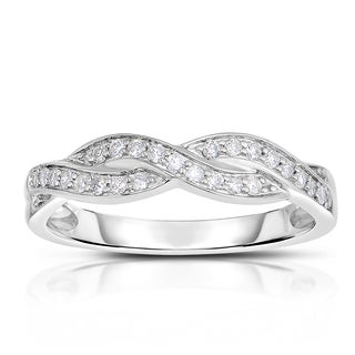 14k White Gold 1/5ct TDW Braided Diamond Ring (H-I, I1-I2)