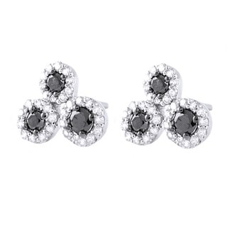 Beverly Hills Charm 10k White Gold 2/5ct TDW Black and White 3-stone Diamond Earrings (H-I, I2-I3)