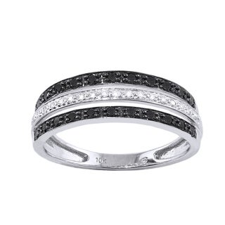 Beverly Hills Charm 10k White Gold 1/3ct TDW Black and White Multi-row Diamond Band Ring (H-I, I2-I3)