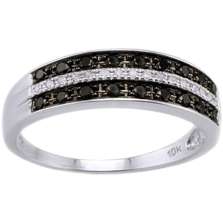 Beverly Hills Charm 10k White Gold 1/4ct TDW Black/ White Diamond Ring (H-I, I2-I3)
