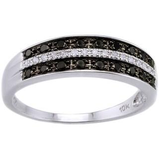 Beverly Hills Charm 10k White Gold 1/4ct TDW Black/ White Diamond Ring (H-I, I2-I3)