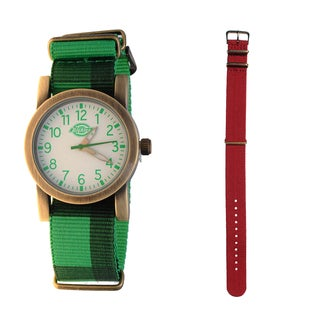 Dickies Goldtone Green Nylon Strap Watch with Extra Red Strap