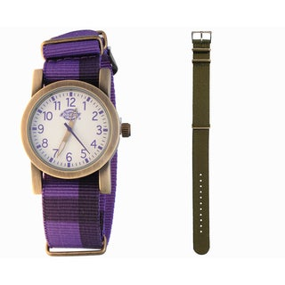 Dickies Goldtone Purple Nylon Strap Watch with Extra Brown Strap