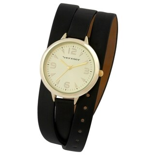 Vernier Women's Round Goldtone Case Black Triple Wrap Watch