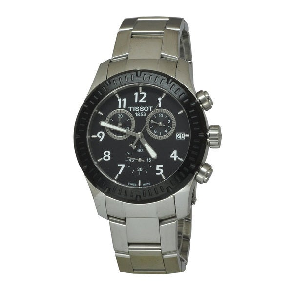 Tissot Men's V8 Chronograph Black Dial Watch