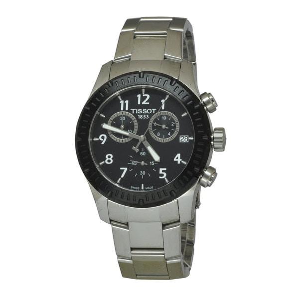 Tissot Men's V8 Chronograph Black Dial Watch