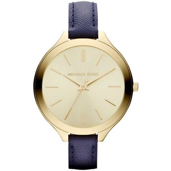Michael Kors Women's MK2285 'Slim Runway' Blue Leather Watch 12973634