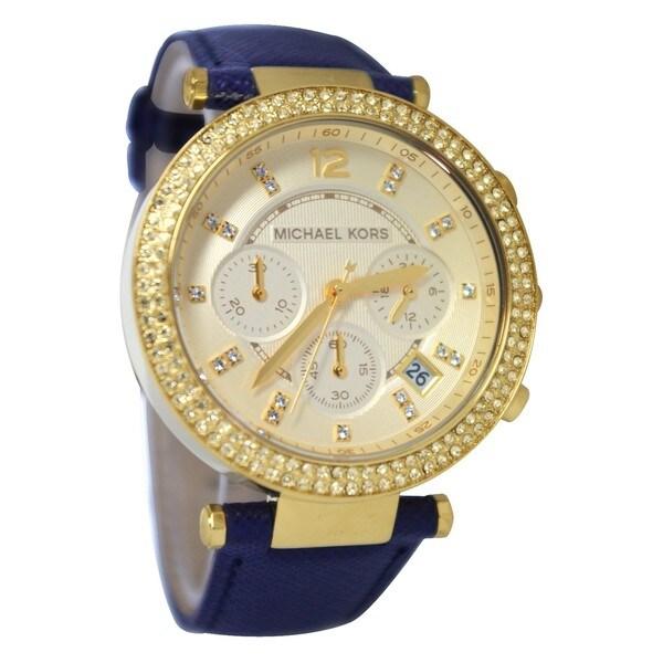 Michael Kors Women's MK2280 Parker Goldtone/ Navy Leather Watch