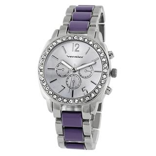 Vernier Women's Stone Bezel Purple Resin Link Watch