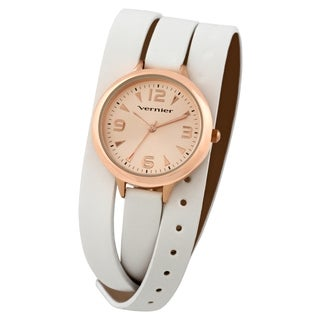 Vernier Women's Rose Tone Case White Triple Wrap Watch