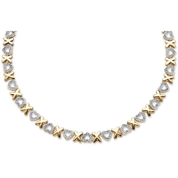 """18k Gold-Plated Diamond Accent Hearts and Kisses Necklace 17"""" 12973678"""