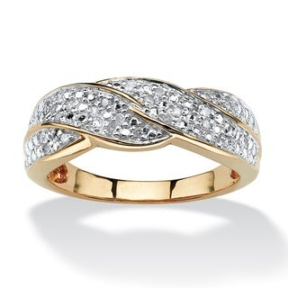 PalmBeach 1/10 TCW Round Diamond Braid Ring in 10k Gold