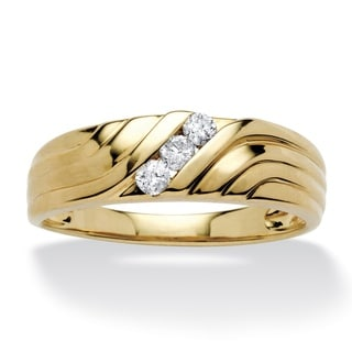 PalmBeach 10k Yellow Gold Men's 1/5ct TDW Diamond Ring (H-I, I2-I3)