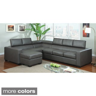 Furniture of America Serriz 3-piece Bonded Leather Sectional with Optional Chaise