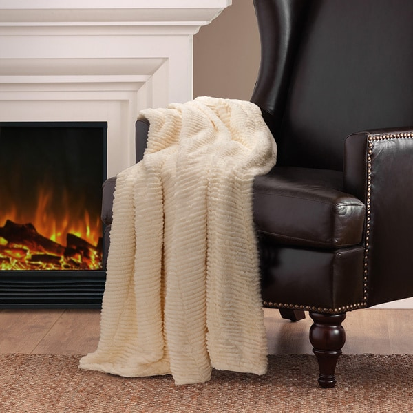 Madison Park Herringbone Long Faux Fur Throw