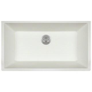 Polaris Sinks P848 White AstraGranite Single Bowl Kitchen Sink