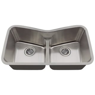 Polaris Sinks P335-16 Low Divide Angled Bowl Stainless Steel Kitchen Sink