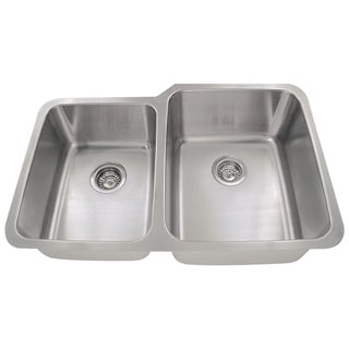 Polaris Sinks PR315 Offset Double Bowl Stainless Steel Kitchen Sink