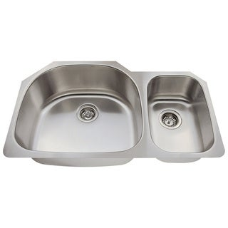 Polaris Sinks P905-18 Offset Double Bowl Stainlses Steel Kitchen Sink