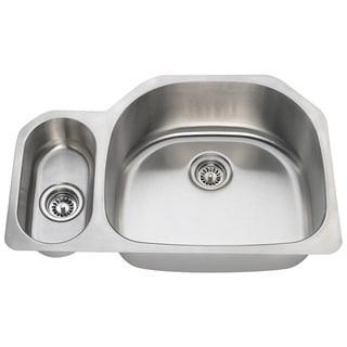 Polaris Sinks PR123-16 Offset Double Bowl Stainless Steel Kitchen Sink