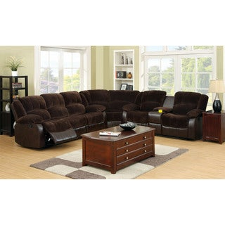 Cerrik Sectional Sofa Upholstered in Brown Champion Fabric and Leatherette