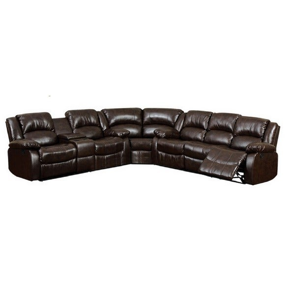 arans rustic brown bonded leather sectional sofa 16247967