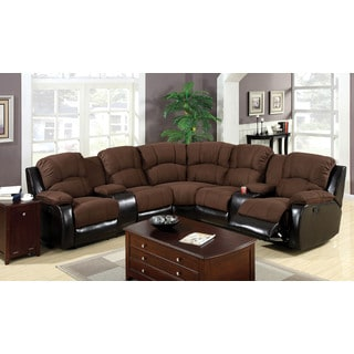 Ransol Sectional Sofa with 2 End Recliners Upholstered in Elephant Skin Microfiber & Leatherette
