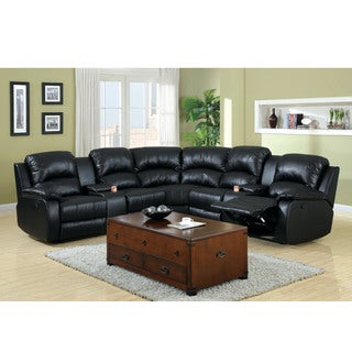 Leoben Black Bonded Leather Reclining Sectional Sofa