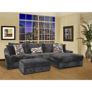Audrey 3-piece Ebony Sectional Sofa with Ottoman