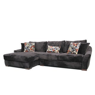 Audrey 3-piece Ebony Sectional Sofa with Ottoman